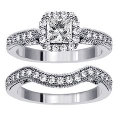Gold or Platinum TDW Princess Diamond Halo Bridal Ring Set Wedding Rings Simple, Wedding Rings Vintage, Trendy Wedding, Princess Cut Rings, Princess Cut Diamonds, Halo Diamond Engagement Ring, Diamond Wedding Bands, Diamond Rings, Gemstone Rings