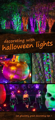 Halloween Lights & Decoration Ideas - Christmas Lights, Etc Something spooky this way comes! Mix purple, orange and green string lights to create spellbinding Halloween decorations, light wrapped tree forests and spine tingling scenes! Halloween Prop, Fröhliches Halloween, Holidays Halloween, Halloween Treats, Vintage Halloween, Halloween Yard Ideas, Holloween Party Ideas, Vintage Christmas, Purple Halloween