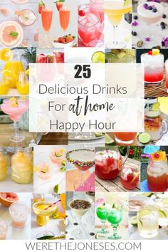 Looking for easy + yummy cocktails to make at home? I've rounded up the best 25 delicious drinks for at-home happy hour! Easy Drink Recipes, Drinks Alcohol Recipes, Punch Recipes, Cocktail Recipes, Delicious Recipes, Happy Hour Food, Happy Hour Drinks, Kid Drinks, Summer Drinks