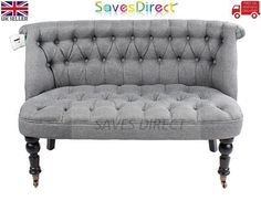 Modern Double Seater Grey Sofa Chair Premium Tuffed Buttons Home New (7433-T2)