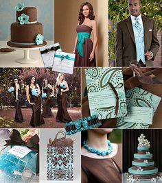 Turkos-brunt färgtema på bröllop / Color theme: turquoise, brown