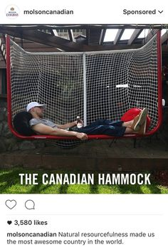 Canadian hammock … this is awesome.loveloveloveit - Pin To Pins Boys Hockey Bedroom, Hockey Room, Hockey Girls, Hockey Crafts, Hockey Decor, Hockey Man Cave, Funny Hockey Memes, Quotes Girlfriend, Coach