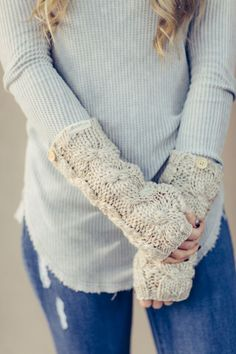 Knitted Arm Warmer Fingerless Gloves with wooden buttons in taupe