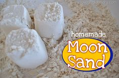 Kid's Craft: Homemade Moon Sand. Just 4 cups of flour and 1/2 C of baby oil. Indoor or outdoor activity!