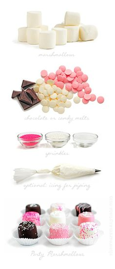 I don't usually like marshmallows, but these look so pretty! ::: Easy Party Marshmallows from Lyons Johnson / She Wears Many Hats Candy Table, Candy Buffet, Chocolate Dipped Marshmallows, Decorated Marshmallows, Homemade Marshmallows, Oreos, Decorated Cookies, Bar A Bonbon, Pink Parties