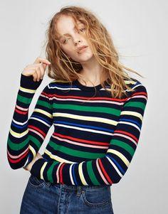 Pull amp Bear - mujer - ropa - punto - jersey crop rayas - verde - 6c898fb3e99b