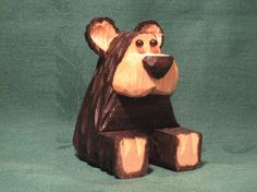 Hand Carved Sitting Wood Bear Wood Carving by RWKWoodcarving, $18.00 --- I have got to have this!  I love bears!! lol