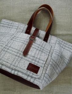 leather and tweed handbag