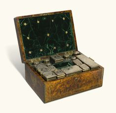 A William IV brass-inlaid stained field maple dressing case, Charles Reily & George Storer, London, 1833 Estimate — GBP LOT SOLD. Vanity Box, Dressing Table Set, Art Auction, Antique Furniture, Tweed, Decorative Boxes, Monogram, Antiques, Lady