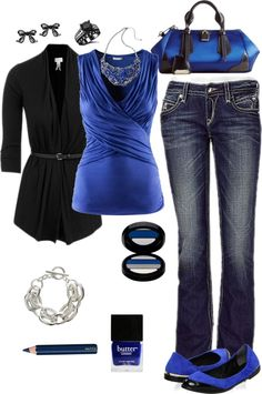 """Cobalt and Black"" by crzrdnk77 on Polyvore"