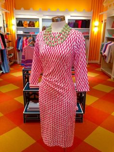 """""""Sage"""" Dress at J. McLaughlin: This ruched pink and white dress from J. McLaughlin works on a variety of figures and is made of that fabulous Catalina material J. McLaughlin is so famous for. Packable, breathable and great for a luncheon. The sleeves provide protection from an overzealous air conditioner, as well! $195."""