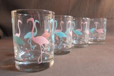 Libbey Flamingo Glasses  Mid Century  Pink & by JohnnasJems, $24.95