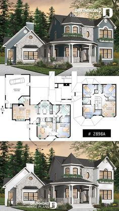 Discover the plan - The Collector 4 from the Drummond House Plans house collection. 4 to 5 bedrooms Victorian two-story home plan, large bonus space, master suite on main floor, garage. Floor Plans 2 Story, House Plans One Story, Dream House Plans, Modern House Plans, Dream Houses, Large House Plans, Family House Plans, New House Plans, Two Story Houses