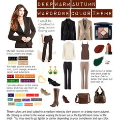 """Deep Warm Autumn Wardrobe Poster"" by katestevens on Polyvore"