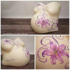 belly cast of pregnancy with purple flower and baby name - repaired and decorated by Julia Schulze & Team www.babybauch-abdruecke.de