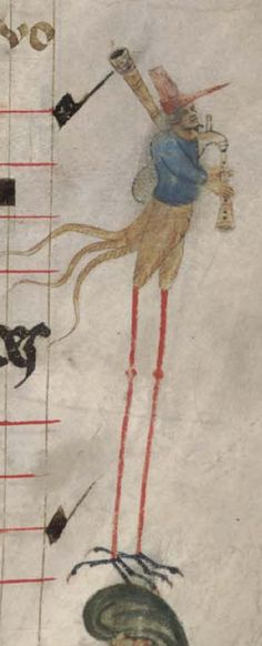 Birdman in the margin of a musical manuscript playing bagpipes (notice musical neumes dropping from the pipes).