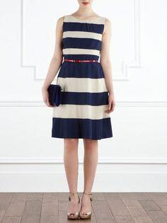 classic stripe blue dress, stripe blue dress, thick stripe blue dress, timeless stripe blue dress, wendys lookbook, wendys lookbook blue skirt, wendyslook book thick stripe skirt, and wendyslookbook navy blue skirt