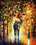 """AUTUMN WALK — PALETTE KNIFE Oil Painting On Canvas By Leonid Afremov - Size 30""""x36"""""""