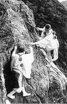 Two Yamabushi rock climbing. Suddenly your little climbing wall isn't so cool, is it?