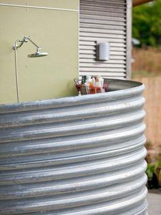outdoor shower stall vinyl outdoor shower enclosure kits shower stalls and kits . outdoor shower s Galvanized Shower, Galvanized Metal, Outside Showers, Outdoor Showers, Outdoor Shower Kits, Open Showers, Outdoor Shower Enclosure, Ideas Baños, Decor Ideas