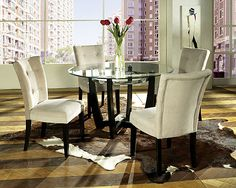 "~Matinee SteveSilver, dining.  48"" round.  multiple neutral fabrics.  Button tuft, optional, wood finish options"