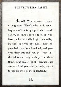 """""""Because once you are Real, you can't be ugly, except to people who don't understand."""" - The Velveteen Rabbit"""