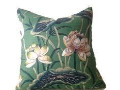 Schumacher Lotus Garden Pillow Cover in Jade Green, Decorative Throw Pillow, Green Pillow Covers, Floral Pillows Gold Decorative Pillows, Gold Pillows, Floral Pillows, Decorative Pillow Covers, Duvet, Green Throw Pillows, Living Room Decor Pillows, Pink, Red Purple