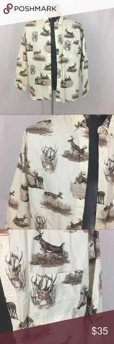 Hunting deer/buck wildlife button down Perfect for the guy who always talks about hunting. I put my foot down and this needs a new home 😘 size XL  🌹no trades 🌹discounts on bundles of 2+  🌹1000 items listed, take a peak!  🌹suggested user, posh compliant:) outdoor life  Shirts