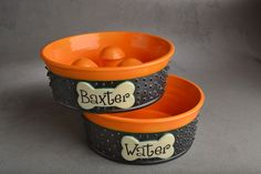 Slow Feeder Dog Bowl Set Made To Order Spiky Personalized Dog Bowls by Symmetrical Pottery by symmetricalpottery on Etsy https://www.etsy.com/listing/182697758/slow-feeder-dog-bowl-set-made-to-order