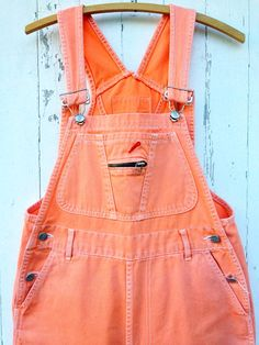 80s Colored Denim Overalls Orange sz S M by HuntedFinds on Etsy, $54.00