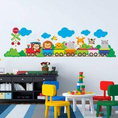 Adesivo de Parede Trem Infantil.Reinvente sua casa com este adesivo decorativo. Decore salas, quartos, banheiros, corredores e onde mais você imaginar.