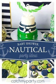 Check out this classic Nautical themed baby shower! The cake is fantastic!! See more party ideas and share yours at CatchMyParty.com #catchmyparty #partyideas #boybabyshower #nauticalbabyshower