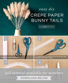 DIY Decor: How to Make Crepe Paper Bunny Tails - Lia Griffith - - Bunny tails make such beautiful home decor! Learn how to craft these pink crepe paper bunny tails with our pattern and tutorial. Crepe Paper Crafts, Paper Flowers Craft, How To Make Paper Flowers, Large Paper Flowers, Diy Flowers, Diy Paper, Crepe Paper Roses, Paper Peonies, Paper Bunny