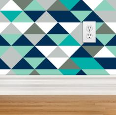 Removable Wallpaper - Mister Hipster Triangles, Repositionable, Removable, Woven Wallpaper, Turquoise, Mint, Navy, Gray, Triangle Wallpaper by modifiedtot on Etsy https://www.etsy.com/listing/251884213/removable-wallpaper-mister-hipster