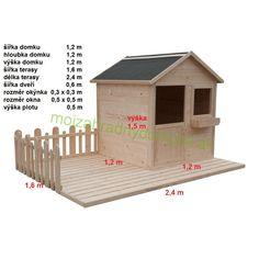 Záhradné domčeky - DETSKÉ      | Detský drevený záhradný domček s terasou ENY  2,4 x 1,6m | Najlacnějšie záhradné domčeky a chatky, na náradie, drevené, pre deti, pre zvieratá, predajné stánky