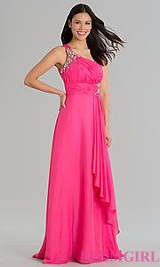 Buy Long One Shoulder Open Back Gown at PromGirl