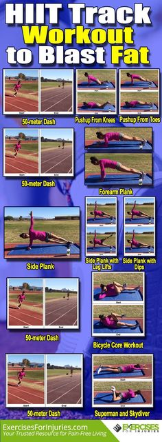 HIIT Track Workout to Blast Fat If you have access to your school's track area, you can get in a great workout. That includes high-intensity interval training activities like these. Easy Ab Workout, Track Workout, Fun Workouts, At Home Workouts, Body Workouts, Workout Circuit, Morning Workouts, Daily Workouts, Fitness Exercises