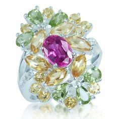 Pink Sapphire, Citrine, Peridot&Topaz 925 Sterling Silver Cluster Ring Size 9 Silvershake. $88.99 High Jewelry, Jewelry Rings, Jewellery, Cluster Ring, Pink Sapphire, Peridot, Topaz, Colorful, Sterling Silver