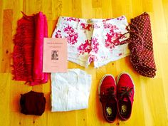 S For Summer packing tips part2 vans burgundy red shorts book trip travel pack suitcase minimalism minimal