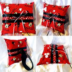 NEW Disneys Minnie Mouse inspired Ring Bearer Pillow for your Wedding day :) ~ 7X7 inches #minniemouse #mickeymouse #disney