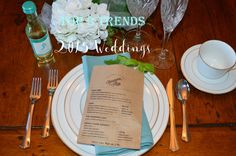 Wedding Trends for 2015- Elegant Place Settings with Menu- These are bread bags, how clever!!!