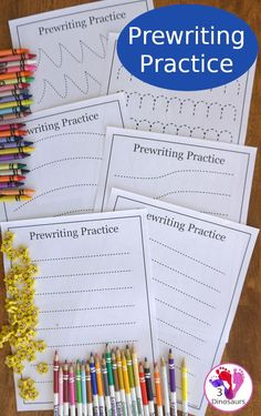 Free Prewriting Practice Printables - 14 different pages to work on fine motor skills for PreK and Kindergarten - 3Dinosaurs.com #3dinosaurs #freeprintable #prewriting #kindergarten #prek
