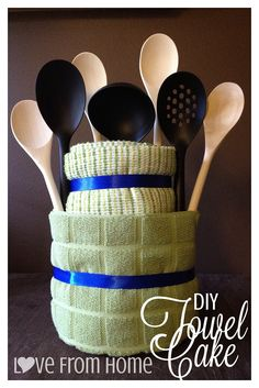 DIY Wedding / Shower Gift: Towel Cake! (could include fewer spoons & other things like cork-screw, apple slicer, whisk, etc..)