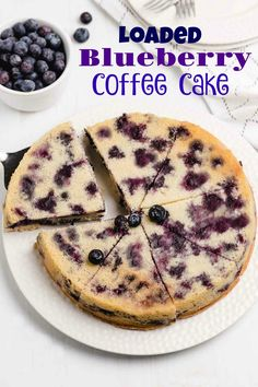 Stuffed with plump blueberries, this Loaded Blueberry Coffee Cake is soft, sweet and topped with turbinado sugar for a crunchy crust. The perfect tender cake for breakfast, brunch, showers and holiday celebrations.
