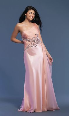 One Shoulder Ruched Embellished Beaded Chiffon Natural Elegant Champagne Prom Dress