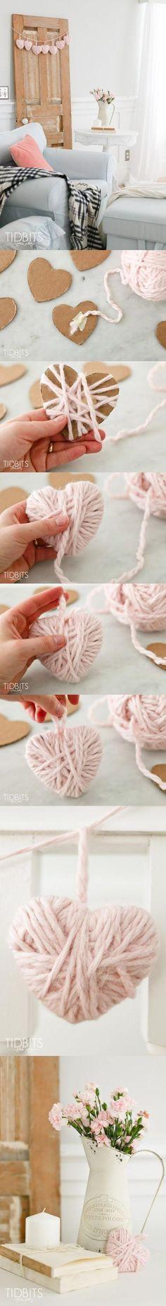 DIY Valentine Yarn Heart - tidbits-cami.com - Decora con corazones de lana DIY: