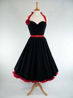 Made To Measure Black Full Circle Dress - Detachable Straps & Belt. £110.00, via Etsy.