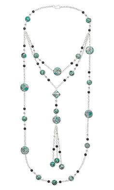 Triple-Strand Necklace with Chalk Turquoise Gemstone Beads, Czech Pressed Glass Beads and Silver-Plated Steel Chain - Fire Mountain Gems and Beads