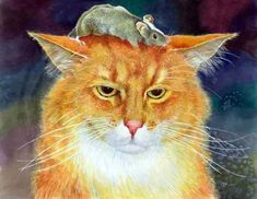 Orange cat in art. Paintings with bright and shining orange cat. I Love Cats, Crazy Cats, Image Chat, Cat Character, Photo Chat, Cat Mouse, Red Cat, Orange Cats, Cat Paws