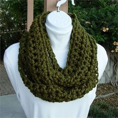 Dark Solid Olive, Military Green Infinity Loop Cowl Circle Scarf, Crochet Knit